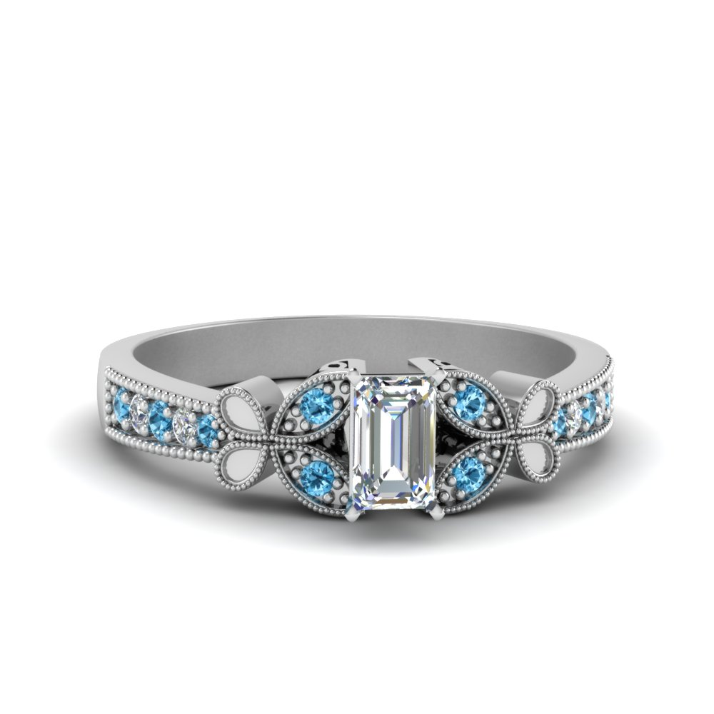 Vintage Butterfly Blue Topaz Engagement Ring
