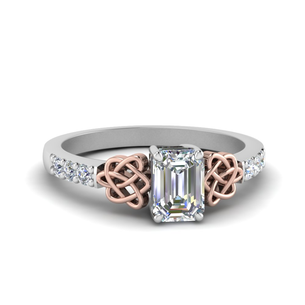 Emerald Cut Celtic Diamond Ring