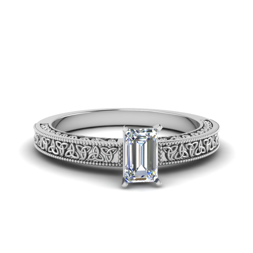 celtic engraved emerald cut solitaire engagement ring in FD8544EMR NL WG