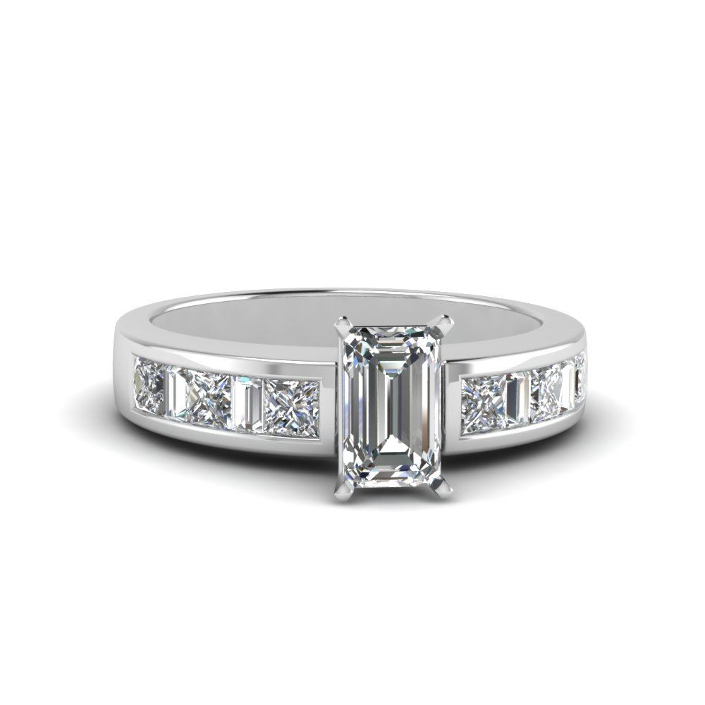 emerald cut channel baguette and princess accent diamond engagement ring in FDENS350EMR NL WG