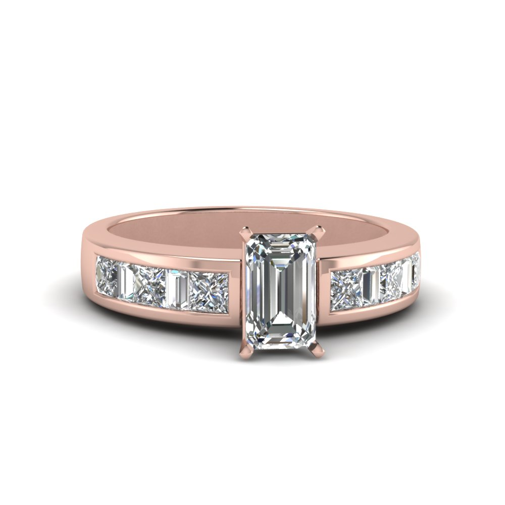 emerald cut channel baguette and princess accent diamond engagement ring in FDENS350EMR NL RG