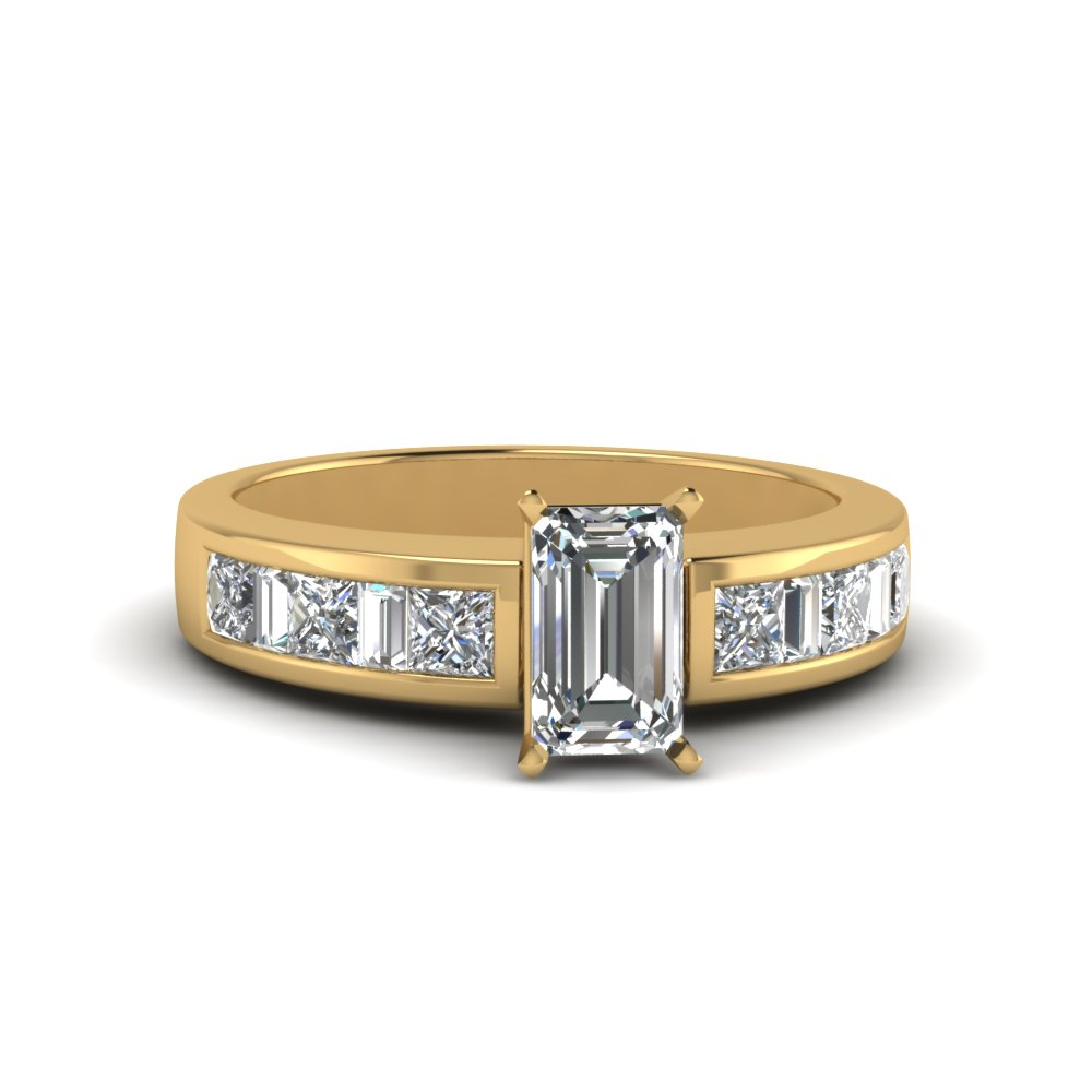 emerald cut channel baguette and princess accent diamond engagement ring in FDENS350EMR NL YG