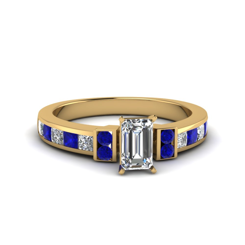 emerald cut channel bar set diamond engagement ring for women with blue sapphire in FDENR989EMRGSABL NL YG