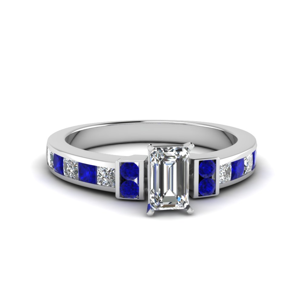 emerald cut channel bar set diamond engagement ring for women with blue sapphire in FDENR989EMRGSABL NL WG