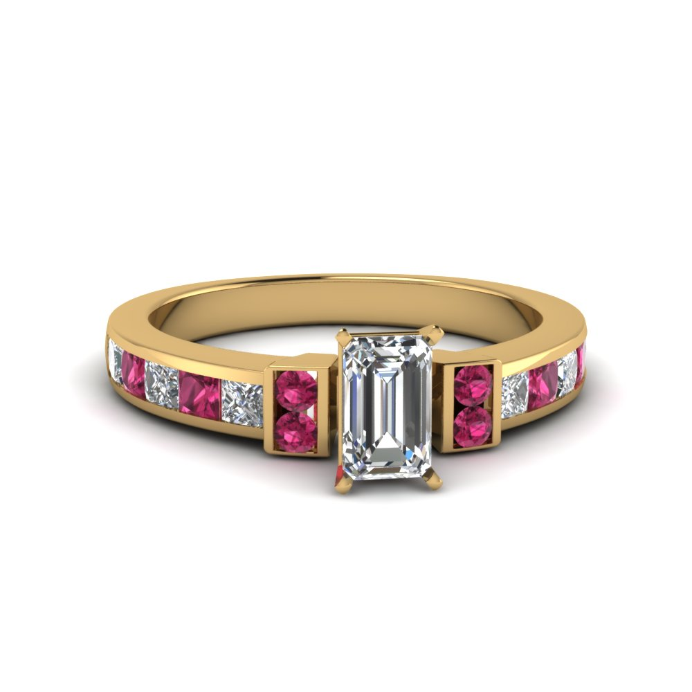 emerald cut channel bar set diamond engagement ring for women with pink sapphire in FDENR989EMRGSADRPI NL YG