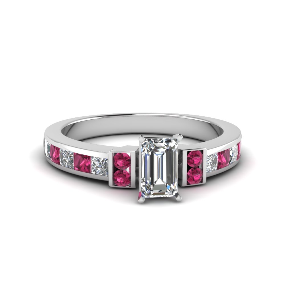 emerald cut channel bar set diamond engagement ring for women with pink sapphire in FDENR989EMRGSADRPI NL WG