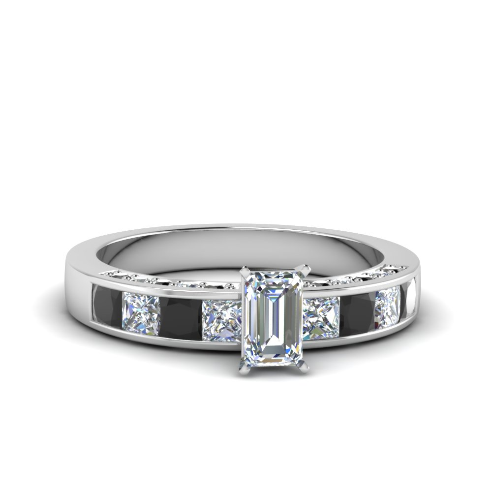 emerald cut channel engagement ring with black diamond in 14K white gold FDENS198EMRGBLACK NL WG