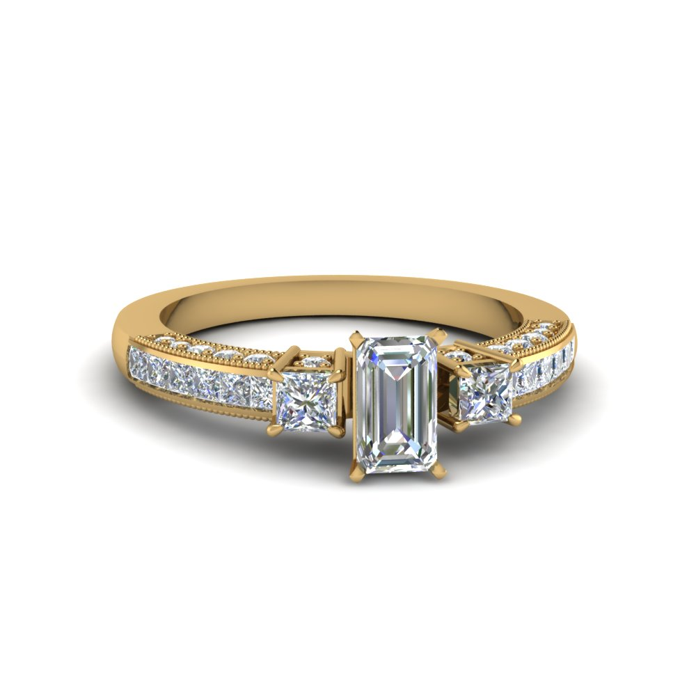 Gold Emerald Cut Diamond Ring