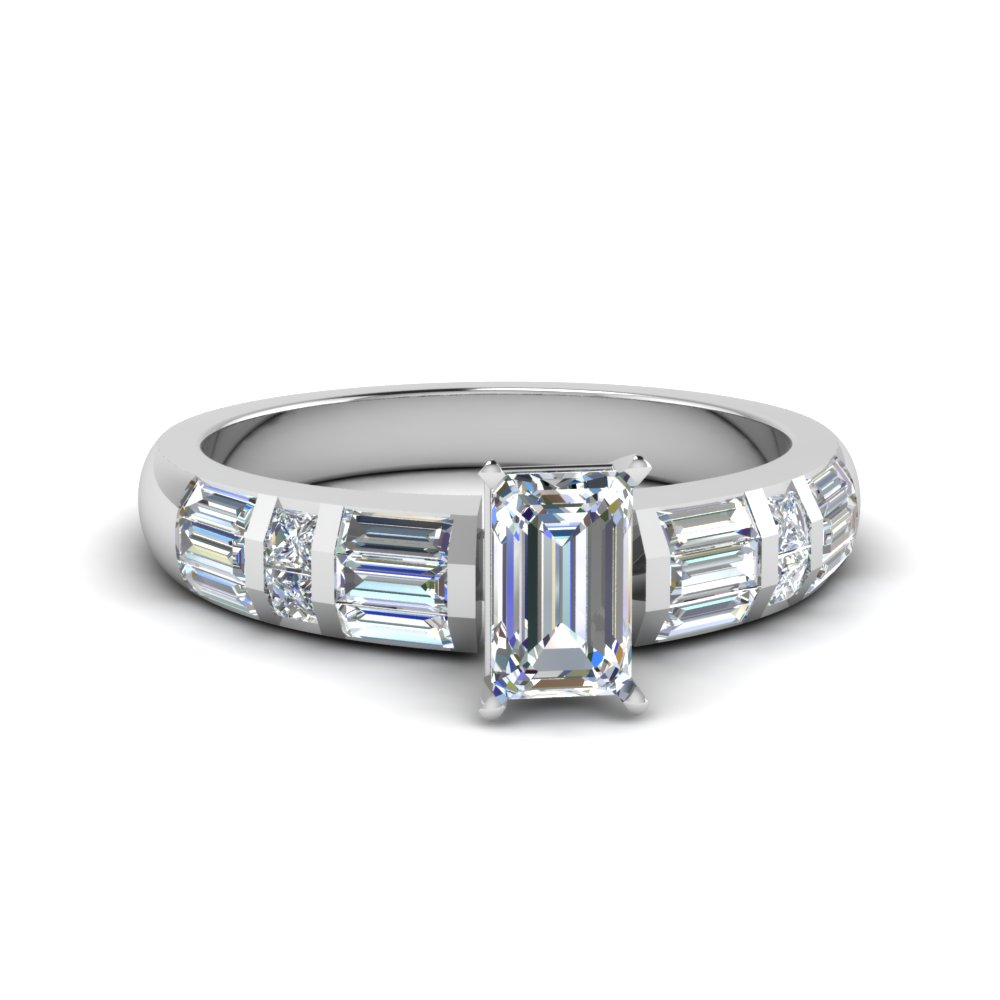 emerald cut channel set baguette diamond engagement ring in FDENR2615EMR NL WG