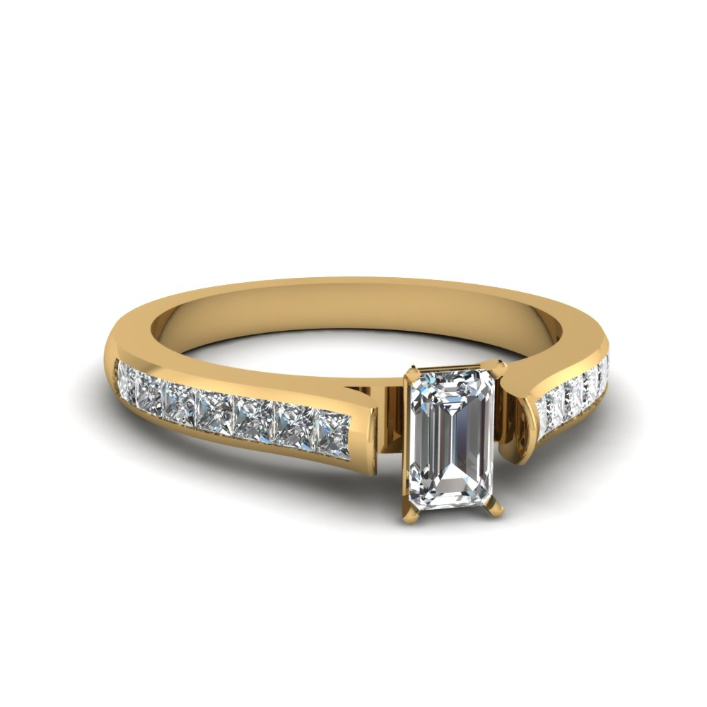 Emerald And Princess Cut Channel Set Diamond Ring in Yellow Gold
