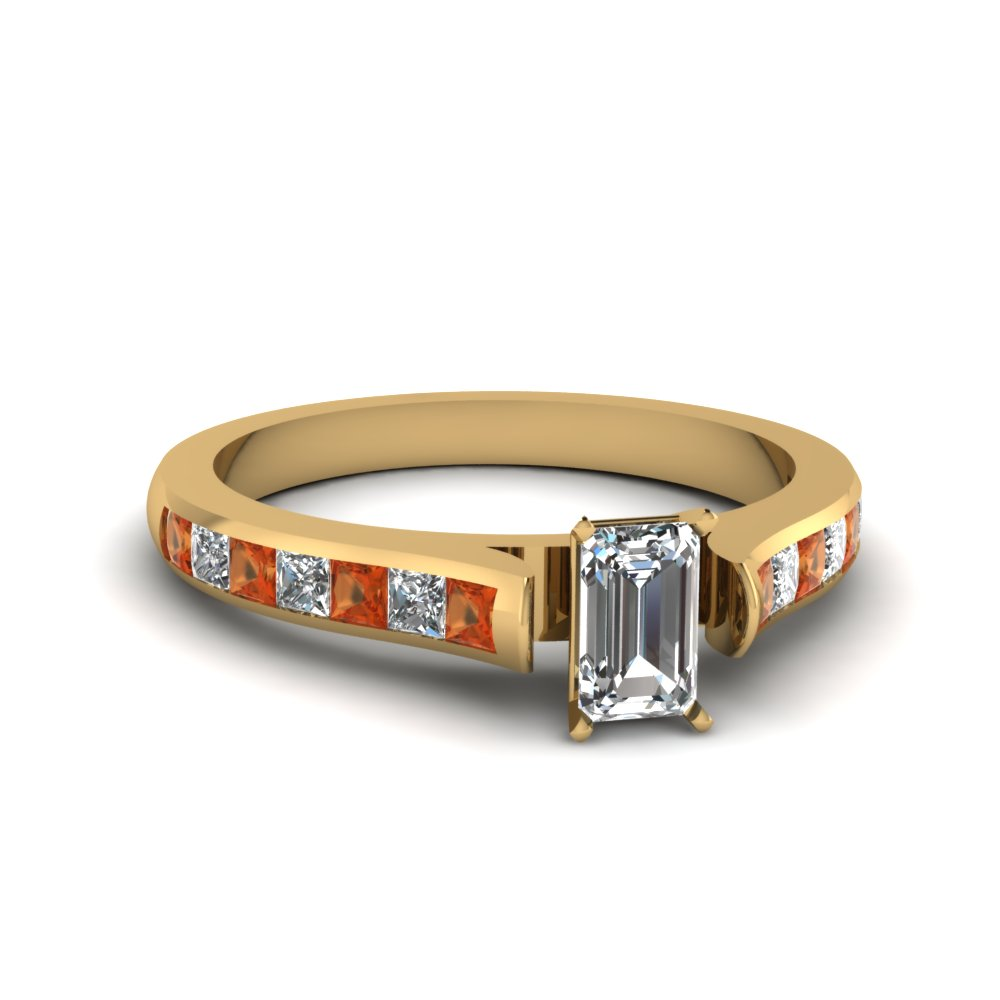 Emerald Cut Diamond with Orange Sapphire Channel Set Engagement Ring