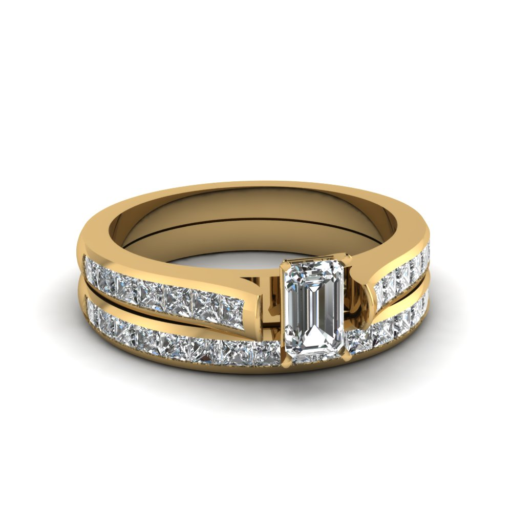 emerald cut channel set diamond wedding ring sets in 14K yellow gold FDENS877EM NL YG 30