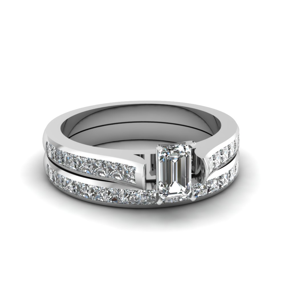 emerald cut channel set diamond wedding ring sets in 18K white gold FDENS877EM NL WG 30