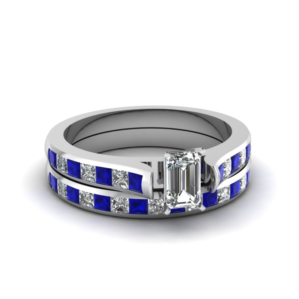 Emerald cut channel set diamond wedding ring sets with for Blue sapphire wedding ring set