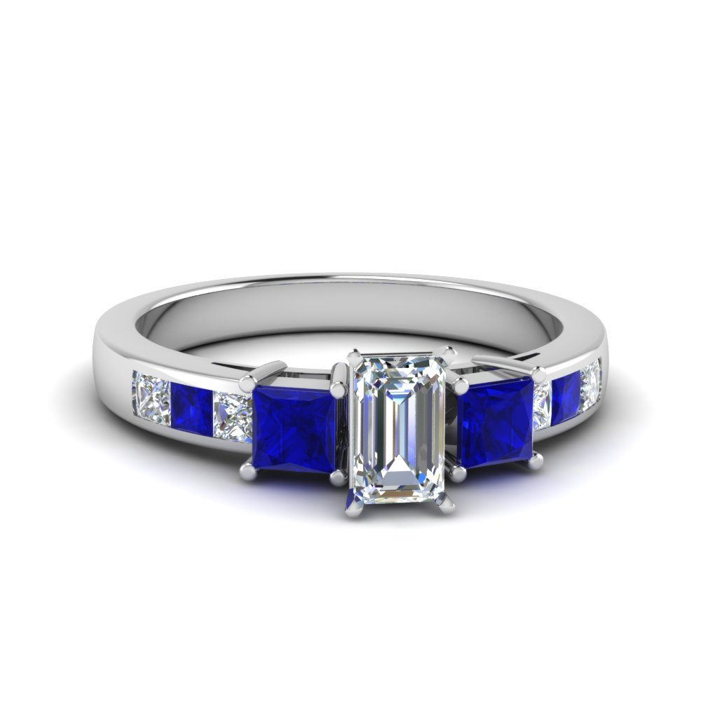 ab49223daf710a emerald cut channel three stone diamond engagement ring with sapphire in  14K white gold FDENS205EMRGSABL NL