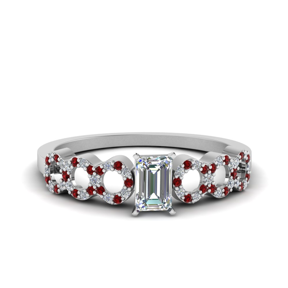 69ff2a437479c1 Entwine Hoop Ring Emerald Cut diamond Petite Engagement Rings with Red Ruby  in 18K White Gold [ Setting + Center Stone ]