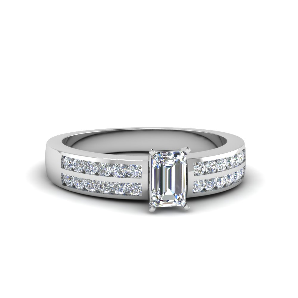 two row channel diamond emerald cut engagement ring in FDENS3119EMR NL WG