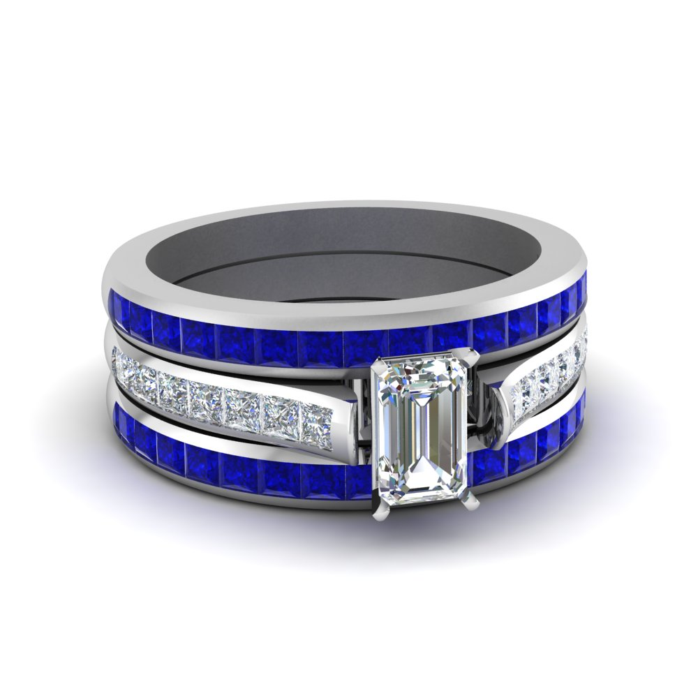 Sapphire Band With Diamond Ring