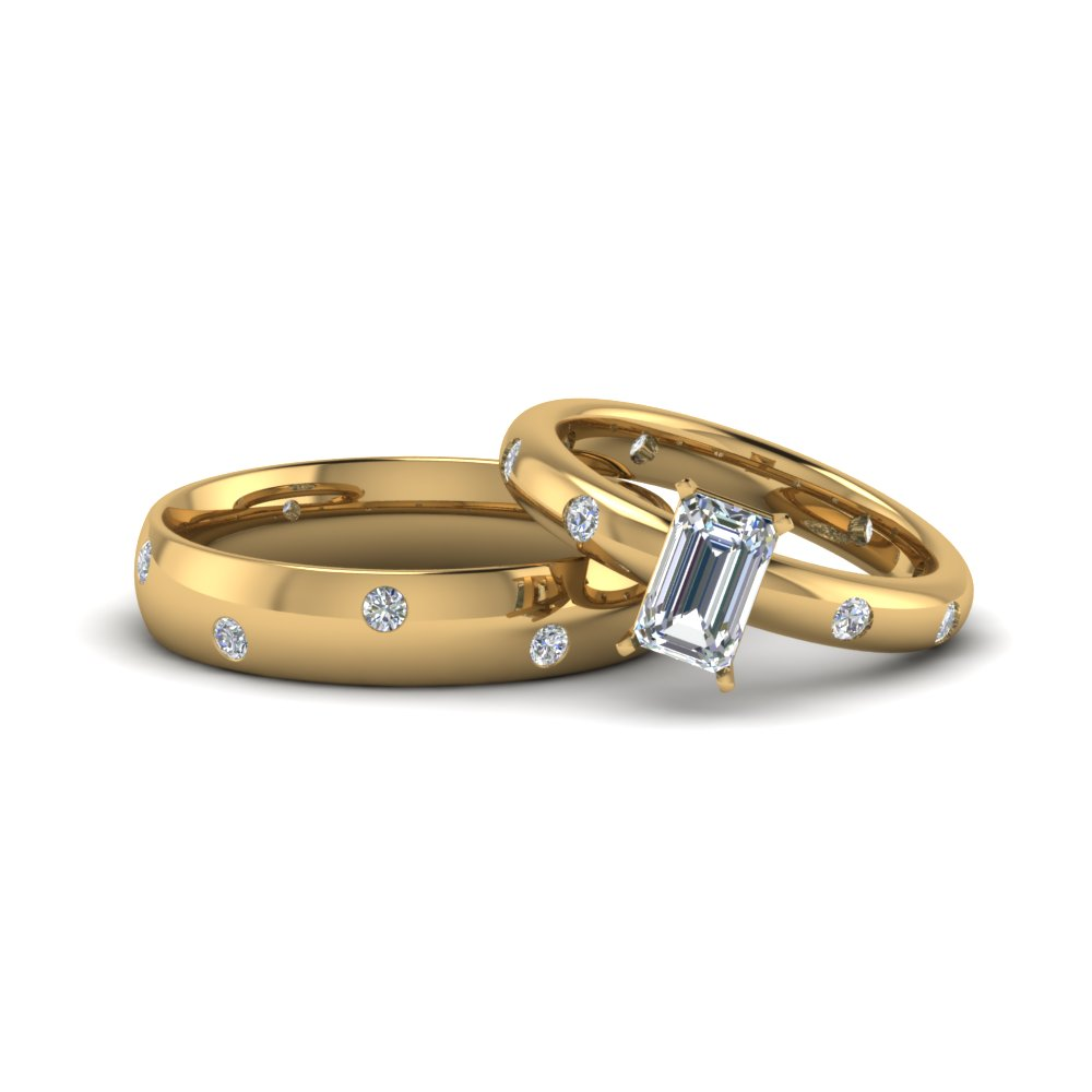 emerald cut couple wedding rings his and hers matching anniversary sets gifts in 14K yellow gold FD8151B NL YG