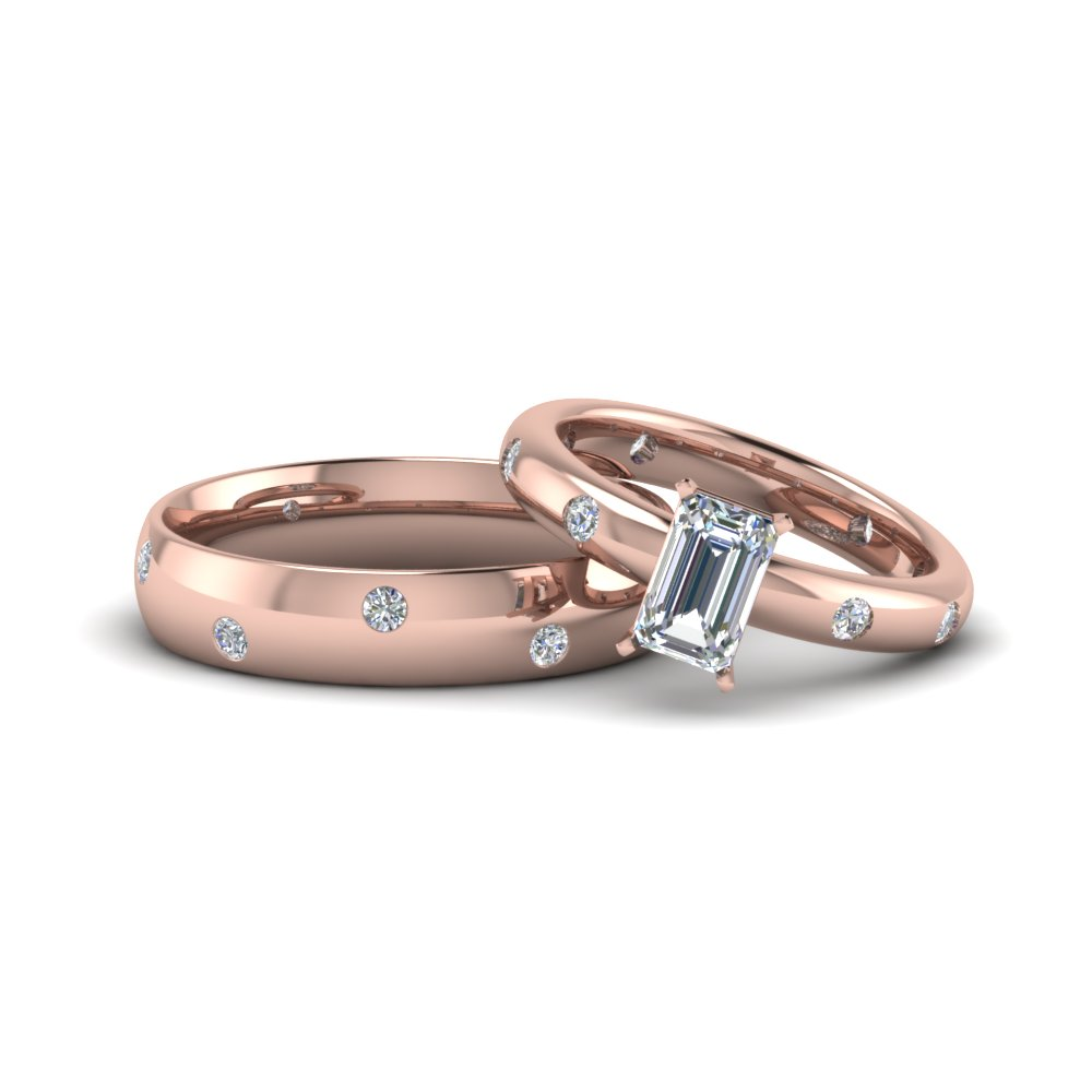 emerald cut couple wedding rings his and hers matching anniversary sets gifts in 18k rose gold - Wedding Rings For Her And Him