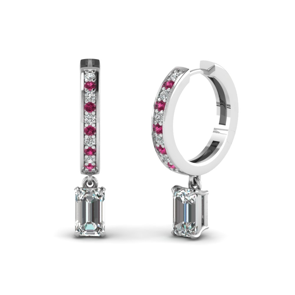 emerald-cut-dark-pink-sapphire-glitzy-swing-hoop-earrings-with-white-diamond-in-14K-white-gold-FDEAR1161EMGSADRPI-NL-WG