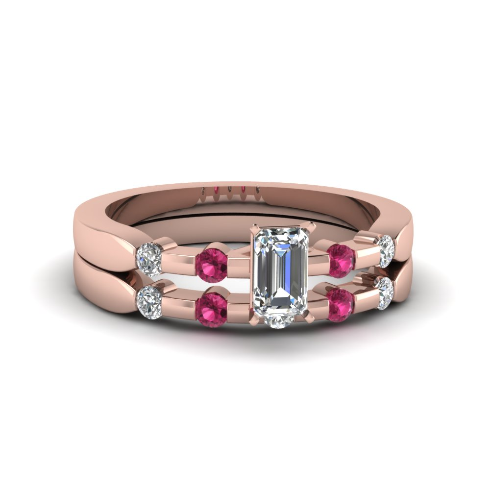 emerald cut delicate diamond wedding ring set with pink sapphire in 14K rose gold FDENS3063EMGSADRPI NL RG