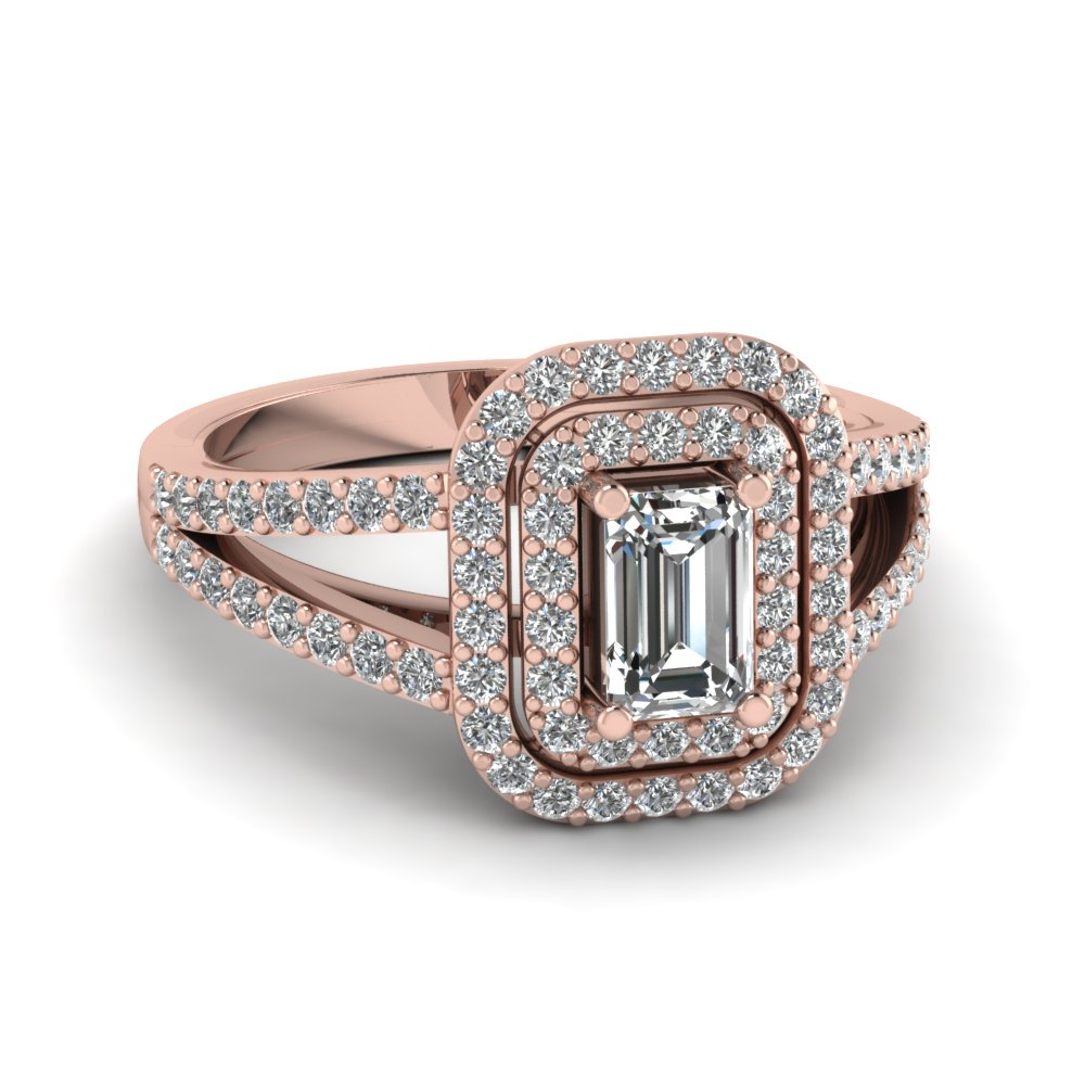 emerald cut diamond deuced halo engagement ring in 14k. Black Bedroom Furniture Sets. Home Design Ideas
