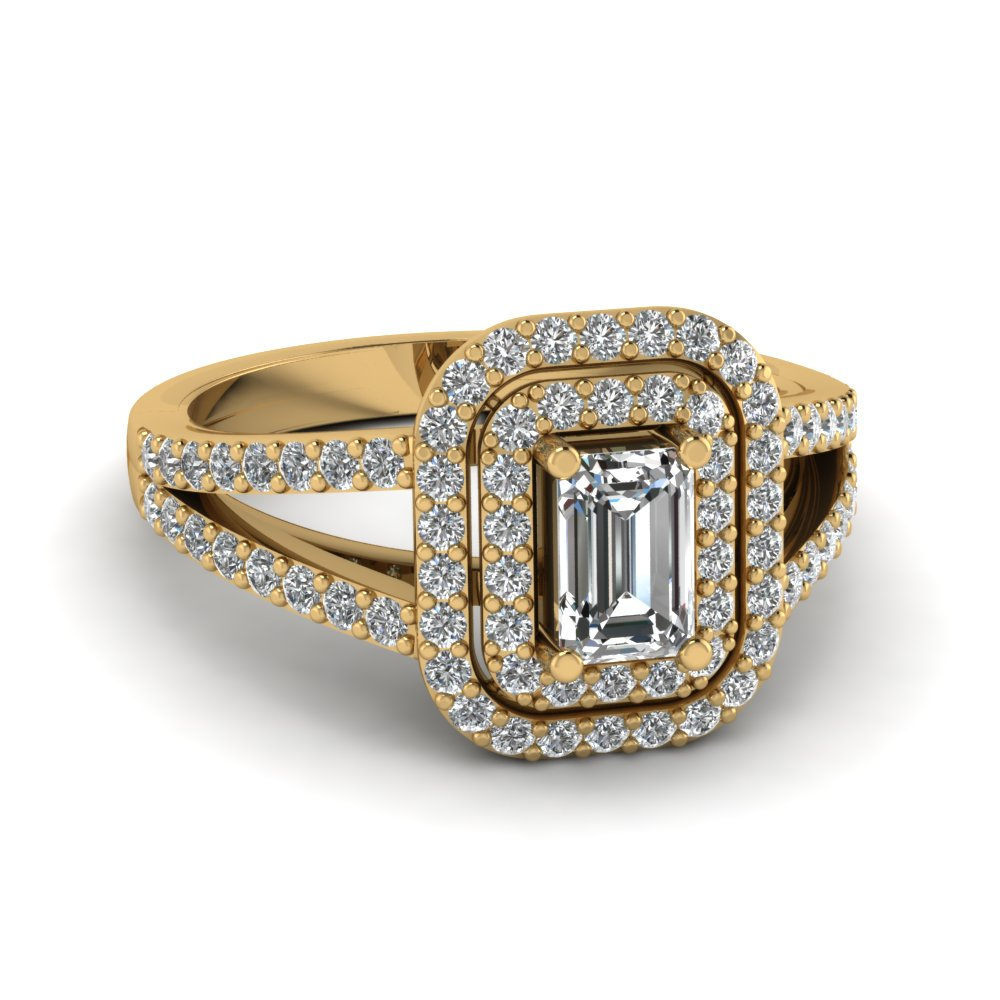 Emerald Cut Halo Diamond Rings