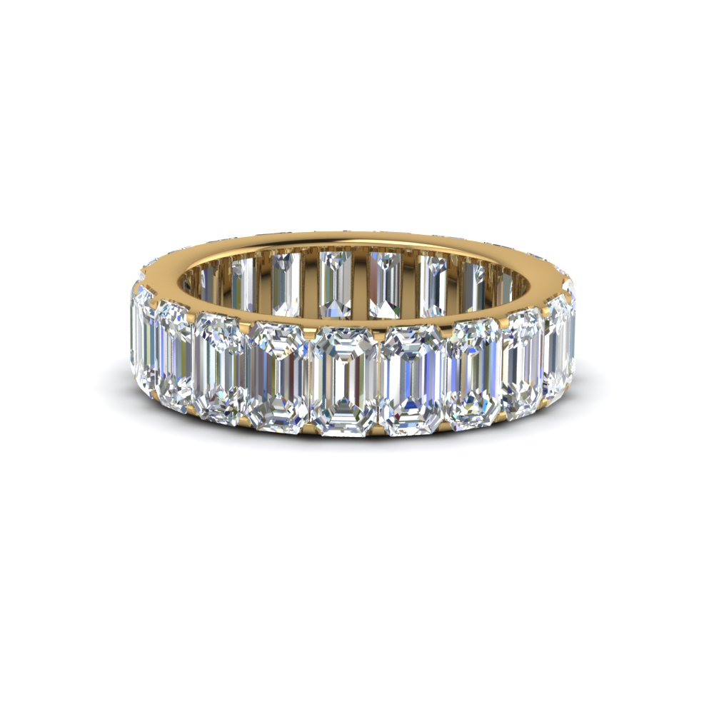 emerald cut diamond Eternity band in 14K yellow gold FDEWB8127B NL YG