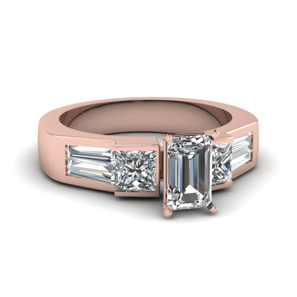 Art Deco Emerald Cut Diamond Engagement Ring In 14K Rose Gold ...
