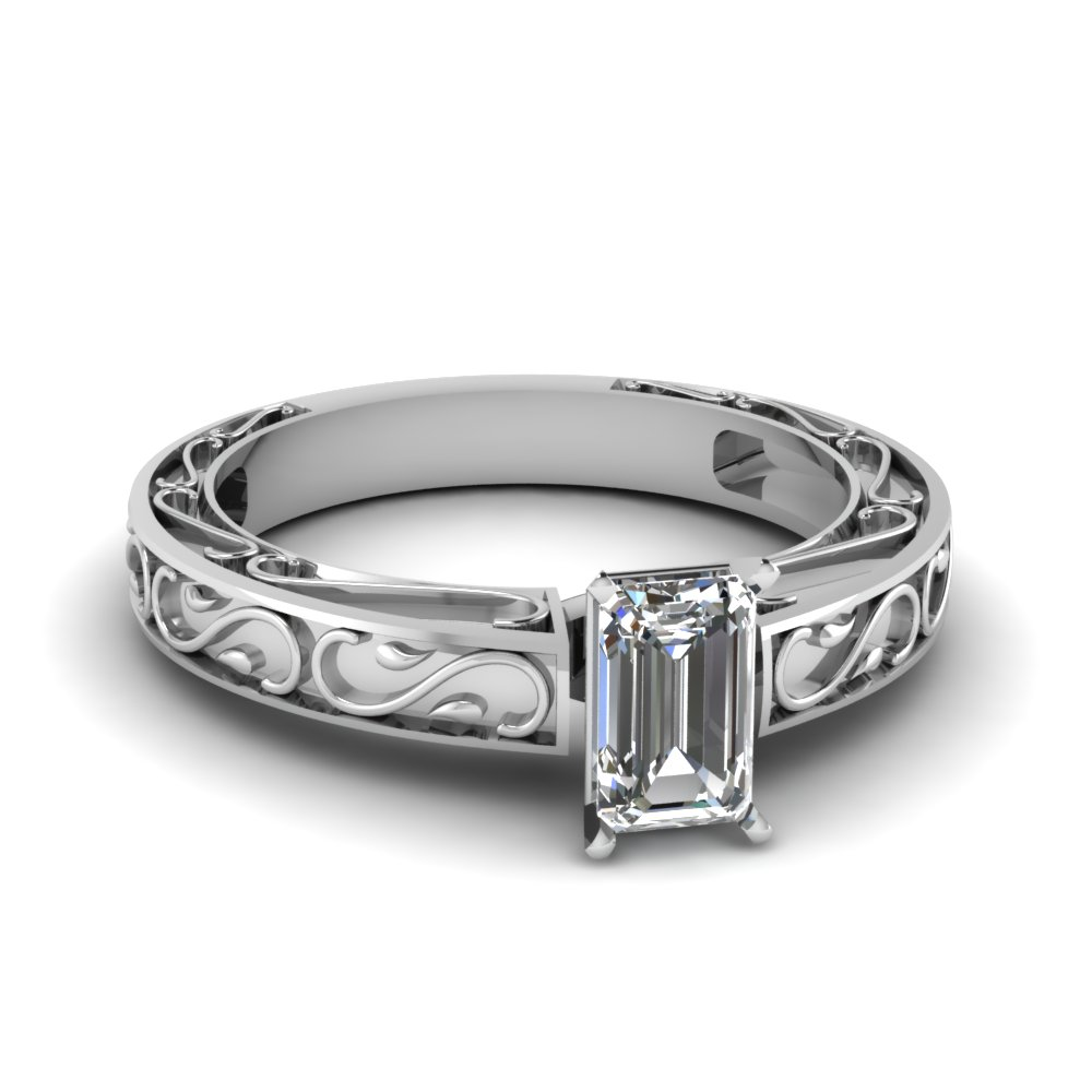 carved emerald cut diamond solitaire engagement ring in FDENS3590EMR NL WG