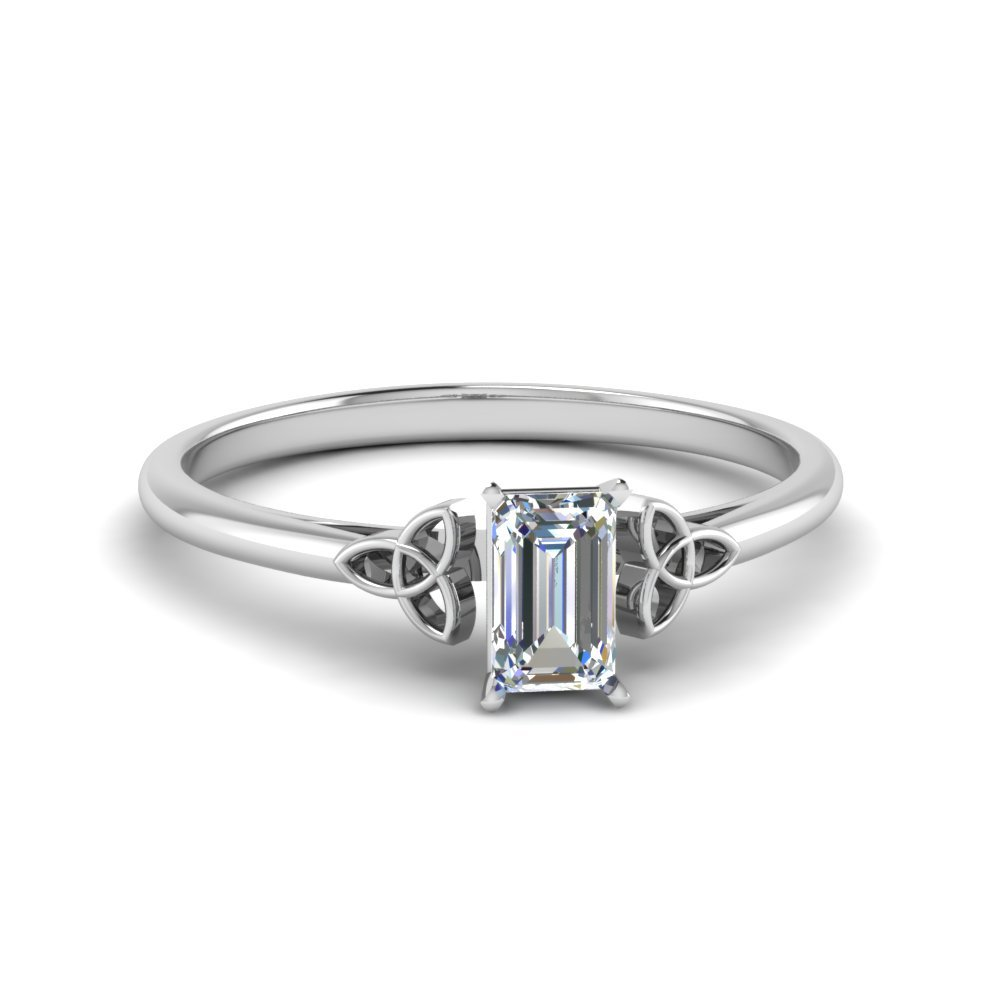 celtic emerald cut solitaire engagement ring in FD8541EMR NL WG