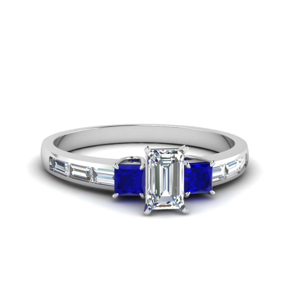 5a02ce6a903b79 channel baguette 3 stone emerald cut diamond engagement ring with sapphire  in FDENS1021EMRGSABL NL WG