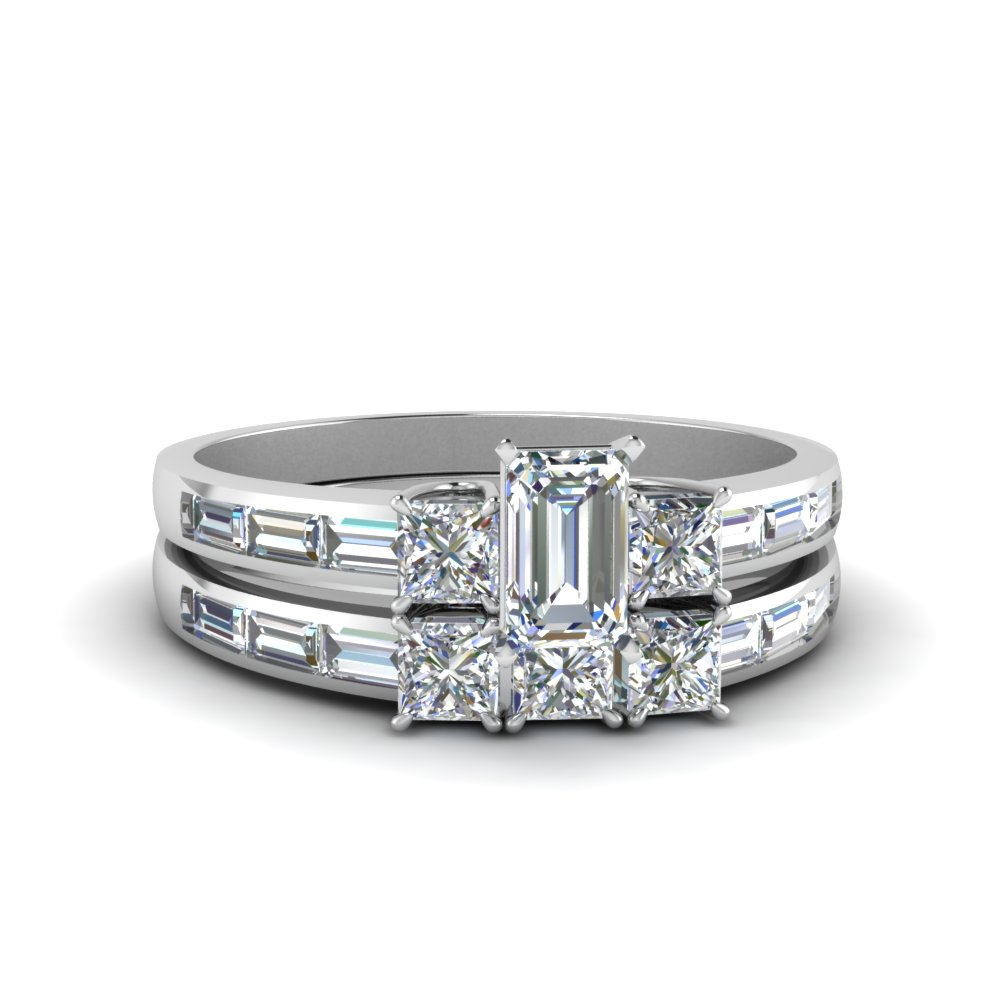 Emerald Cut Diamond Channel Baguette And Princess Accent Stone Wedding Set In 14K White Gold