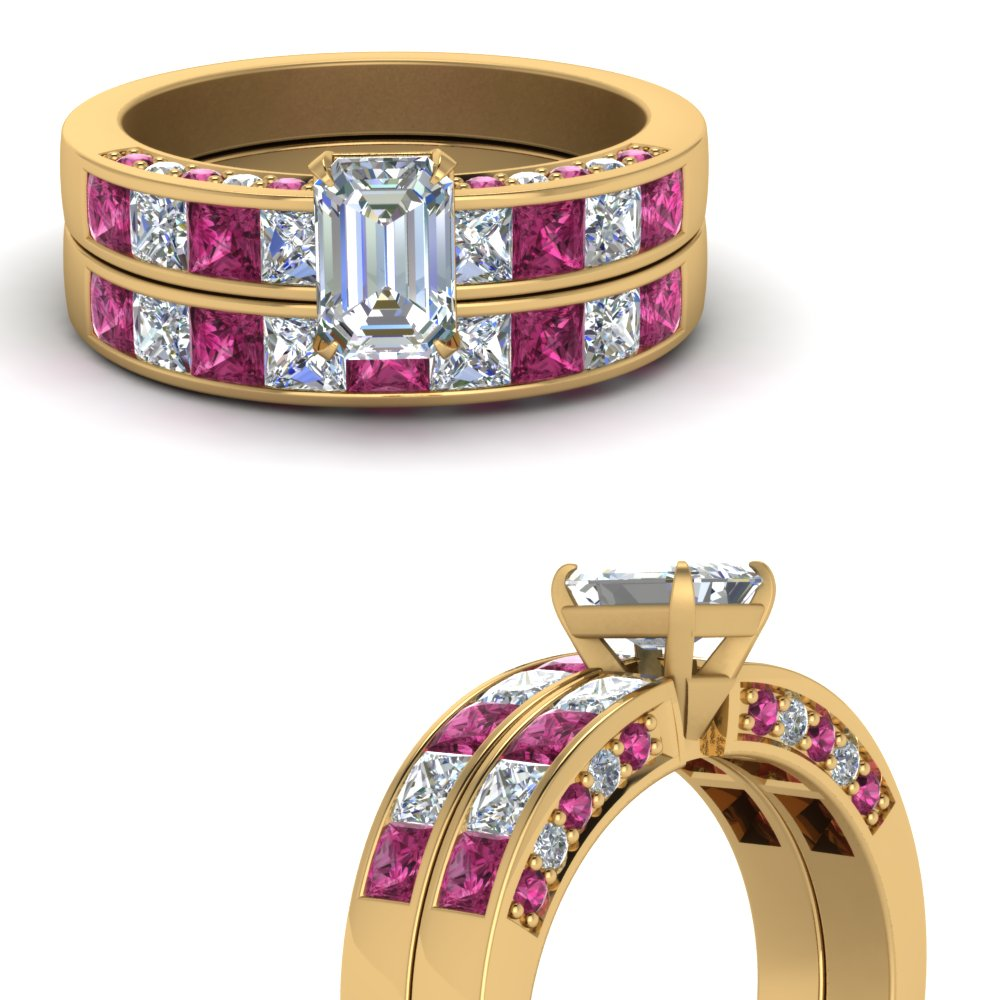 emerald cut diamond channel bridal set with pink sapphire in FDENS198EMGSADRPIANGLE3 NL YG.jpg