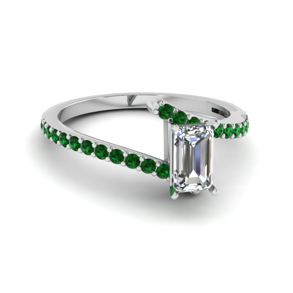 emerald cut diamond colorful engagement ring with green emerald in 14K white gold FDENS3007EMRGEMGR NL WG GS