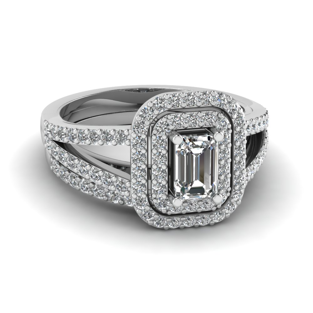 Emerald Cut Diamond Deuced Halo Wedding Set In 14k White Gold Fd68898em Nl Wg