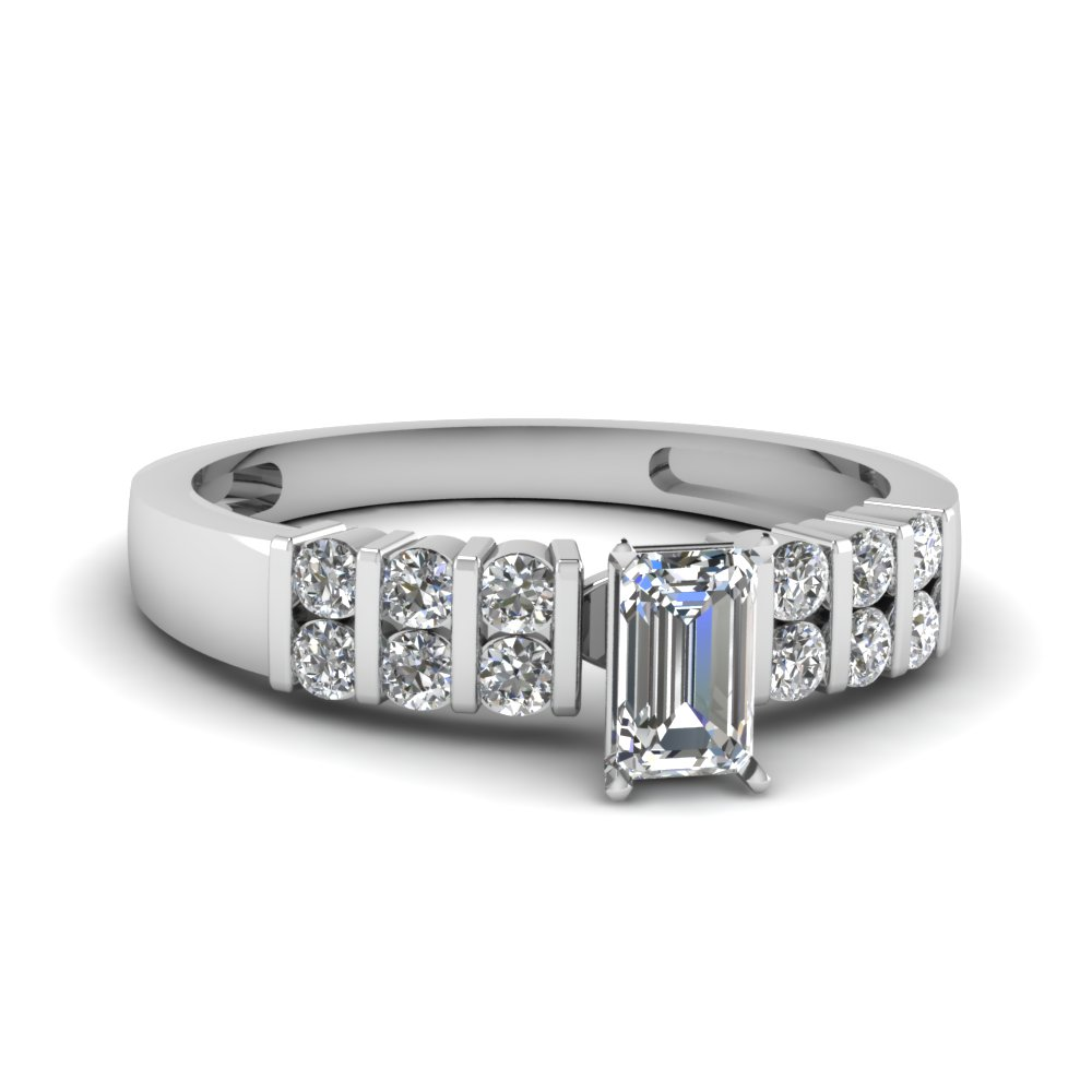 Emerald cut Natural Diamond Engagement Ring