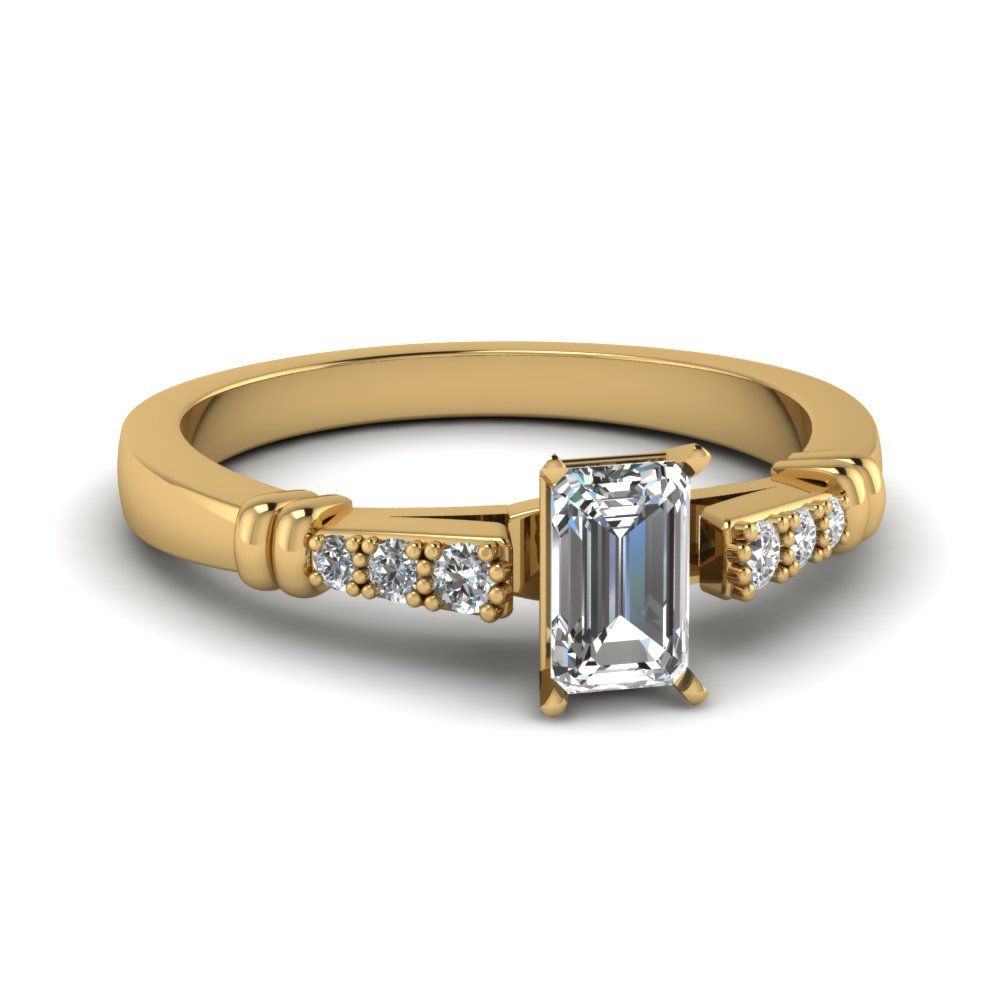 Pave Bar Set Emerald Cut Diamond Engagement Ring In 14K Yellow Gold