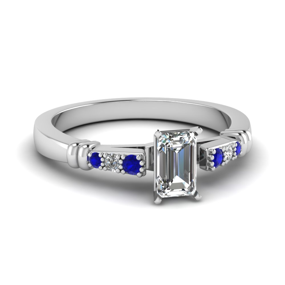 pave bar set emerald cut diamond engagement ring with sapphire in FDENS363EMRGSABL NL WG