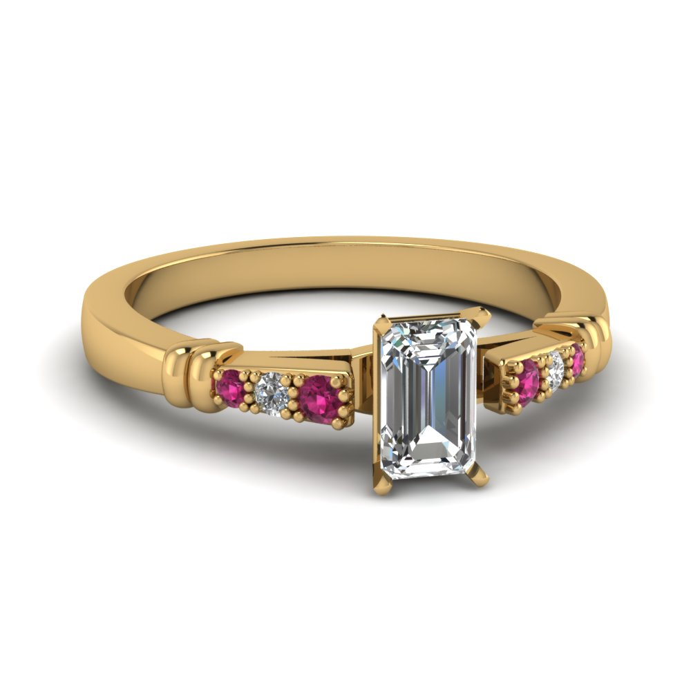 pave bar set emerald cut diamond engagement ring with pink sapphire in FDENS363EMRGSADRPI NL YG