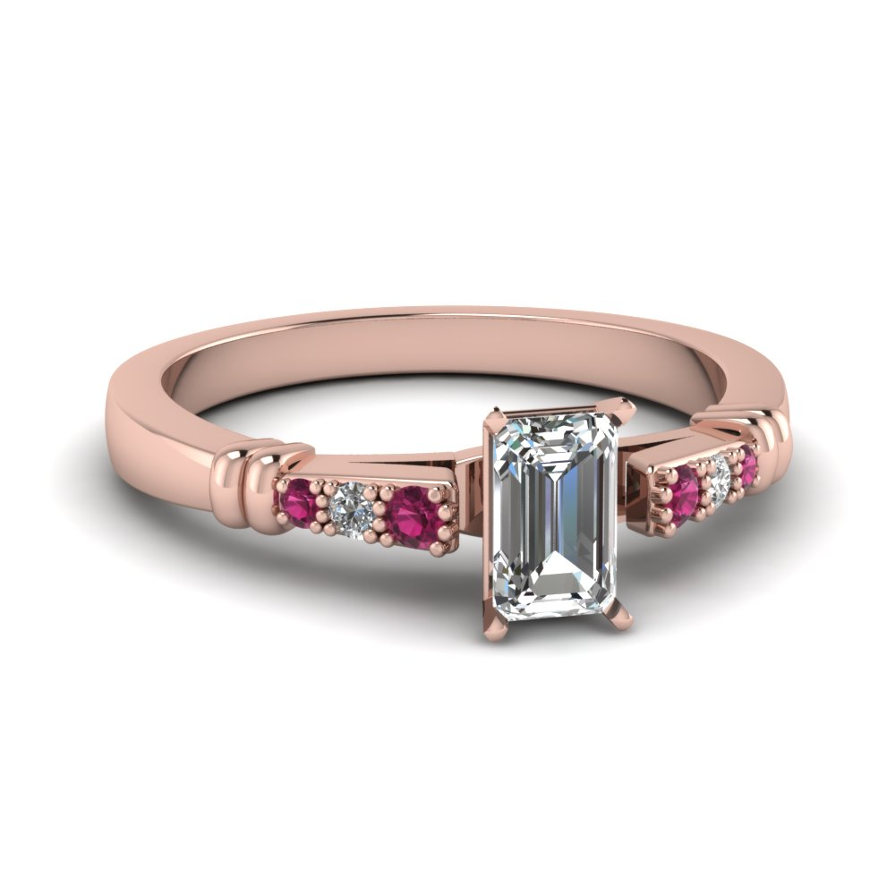 pave bar set emerald cut diamond engagement ring with pink sapphire in FDENS363EMRGSADRPI NL RG