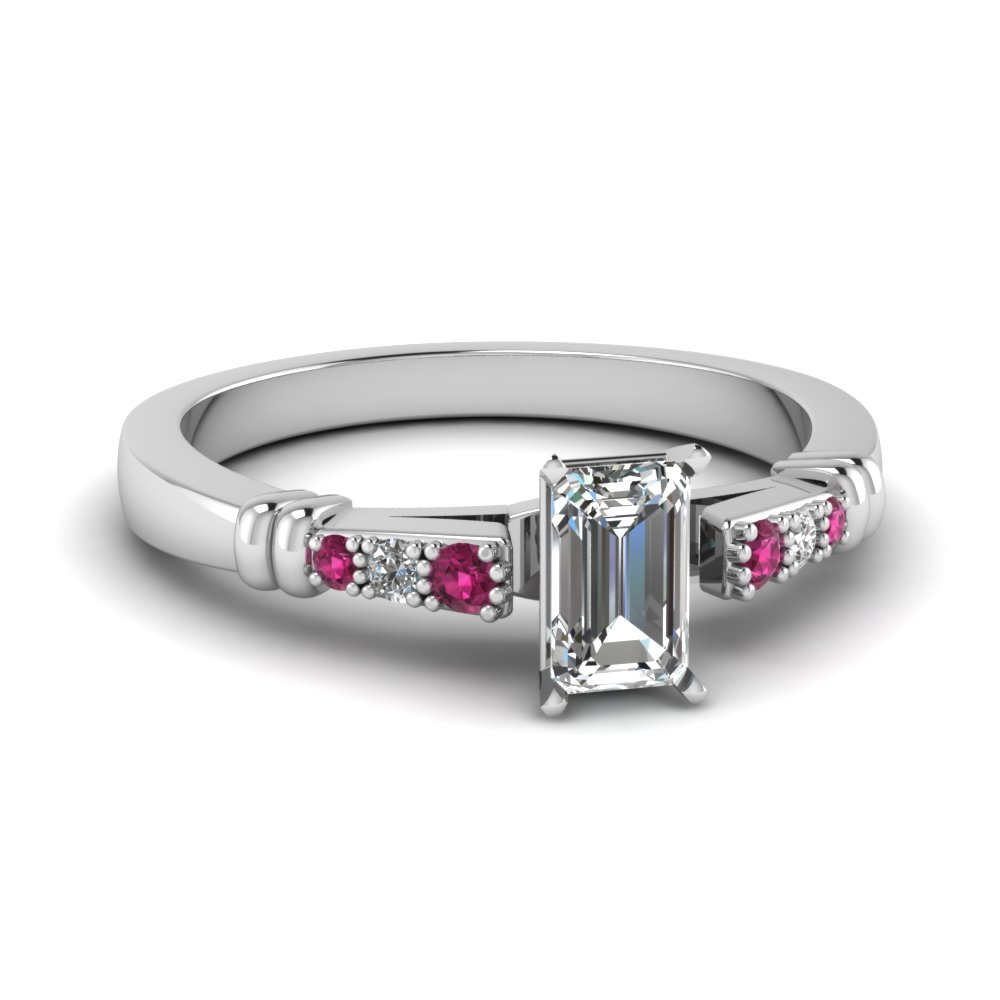 pave bar set emerald cut diamond engagement ring with pink sapphire in FDENS363EMRGSADRPI NL WG