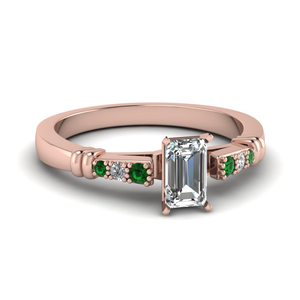 pave bar set emerald cut diamond engagement ring with emerald in FDENS363EMRGEMGR NL RG