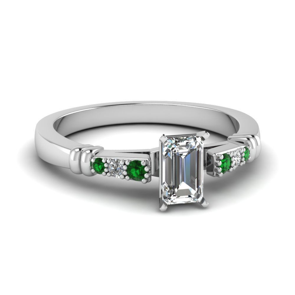 pave bar set emerald cut diamond engagement ring with emerald in FDENS363EMRGEMGR NL WG