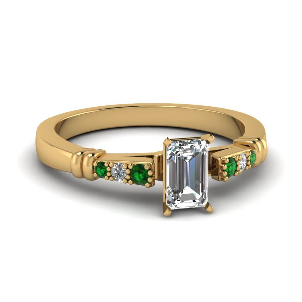 pave bar set emerald cut diamond engagement ring with emerald in FDENS363EMRGEMGR NL YG