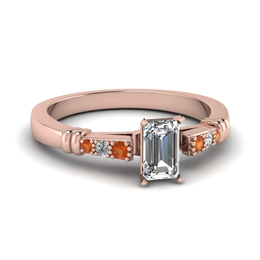 pave bar set emerald cut diamond engagement ring with orange sapphire in FDENS363EMRGSAOR NL RG