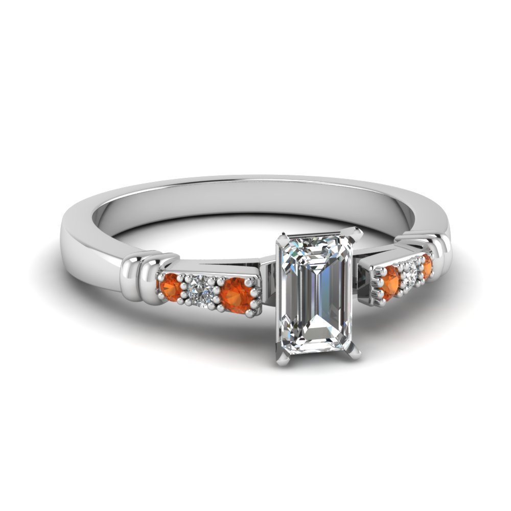 pave bar set emerald cut diamond engagement ring with orange sapphire in FDENS363EMRGSAOR NL WG