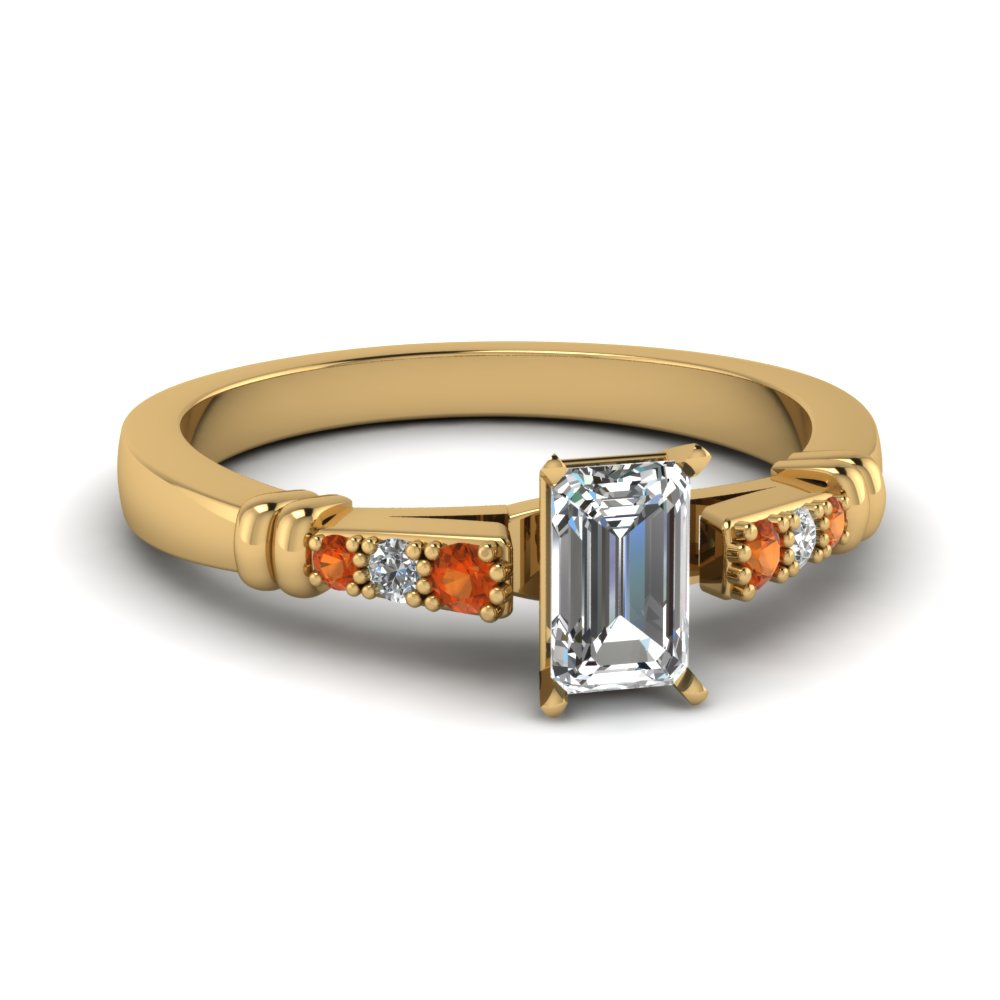 pave bar set emerald cut diamond engagement ring with orange sapphire in FDENS363EMRGSAOR NL YG