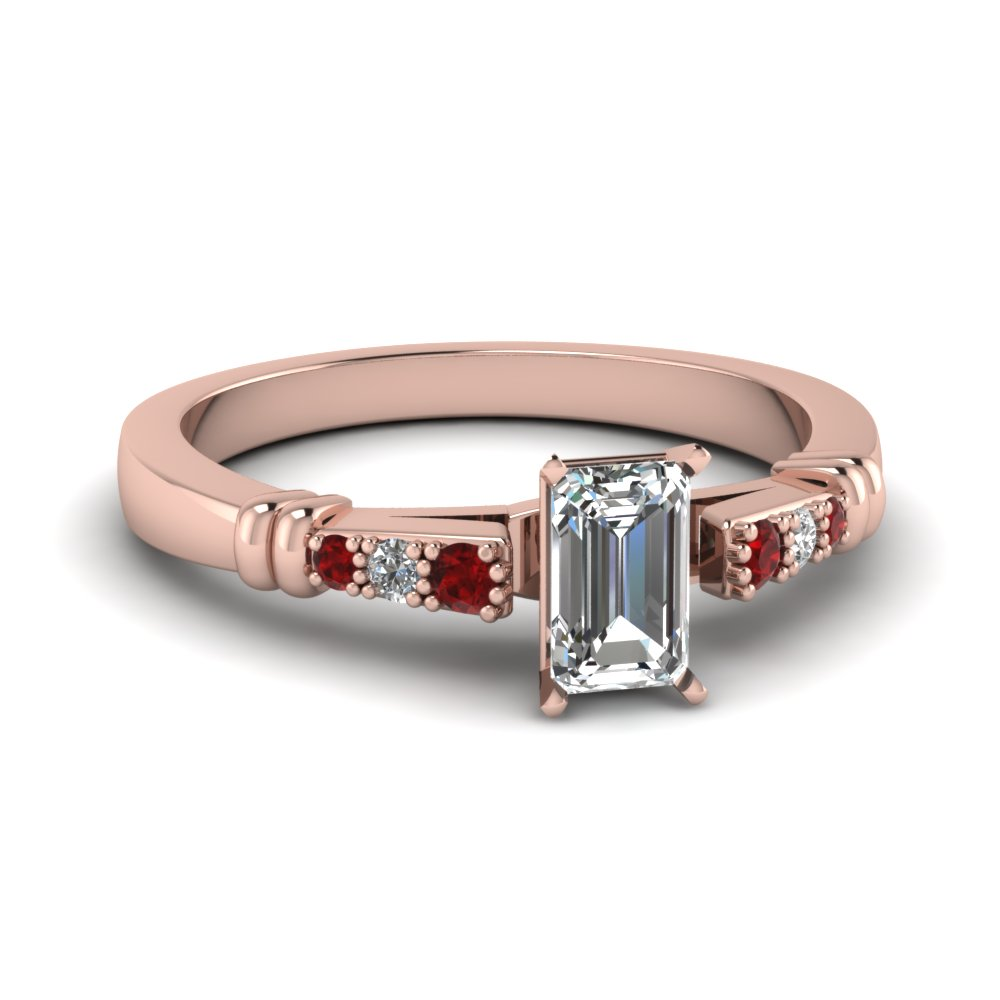 pave bar set emerald cut diamond engagement ring with ruby in FDENS363EMRGRUDR NL RG